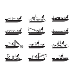 Diverse commercial and passenger ships vector