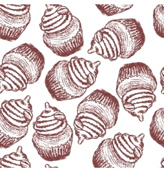 doodle coffee cupcake seamless pattern vector image