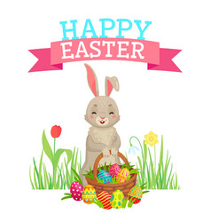 easter greeting card cute bunny colorful eggs vector image