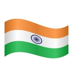 Flag of India waving on white background vector image