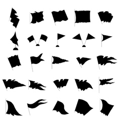 Flag silhouette set vector