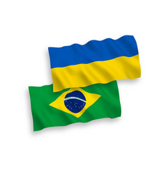 flags brazil and ukraine on a white background vector image