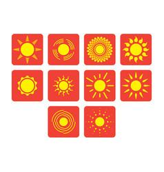 Flat color sun icon set vector