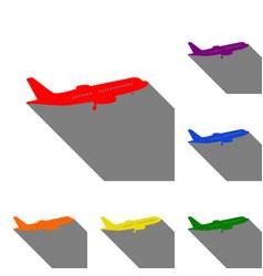 flying plane sign side view set red orange vector image