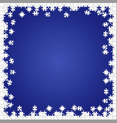 Frame white puzzles pieces blue - jigsaw vector