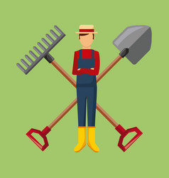 gardener with shovel and pitchfork cross tool vector image