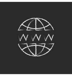 Globe with website design drawn in chalk vector image