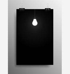 Glowing light bulb dark room idea vector