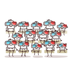 Group people with 3d glasses vector
