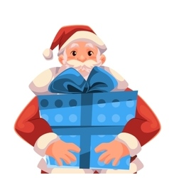 Half length portrait of Santa holding a gift box vector image