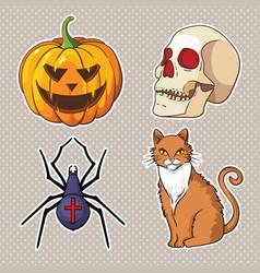 halloween icons set pumpkin skull spider red cat vector image