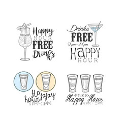 Hand drawn emblems for cocktail bar or cafe vector