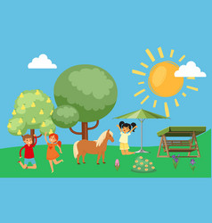 happy kids jumping and rejoicing horses cute vector image