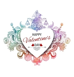Happy valentines day vintage vector