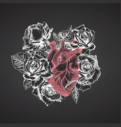 Heart with bouquet roses on chalkboard realistic vector