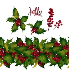 Holly leaves and berries endless border vector image