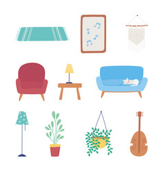 home furniture sofa chair lamp plant table frame vector image