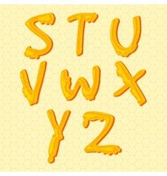 Honey alphabet letters set vector image