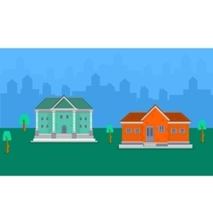 House landscape on hill vector