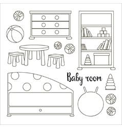 Interior of baby room vector