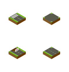 Isometric way set of crossroad rightward strip vector