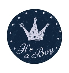 Its a boy label Baby announcement card vector