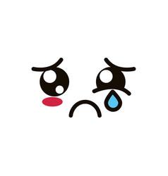 Kawaii cute face expression eyes and mouth crying vector