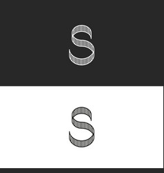 letter s logo monogram striped shape identity vector image