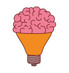 light bulb with brain in top in colorful vector image