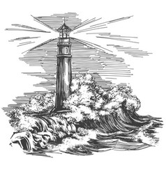 Lighthouse lighthouse in dark and sea vector