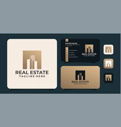 Luxury real estate silhouette logo concept vector