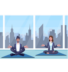 man and woman meditates vector image