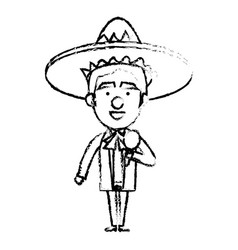 Mexican mariachi with maracas avatar character vector