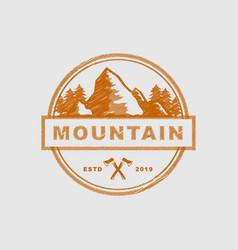 mountain badge logo design template vector image