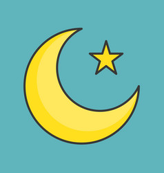 Muslim moon and star filled outline icon vector