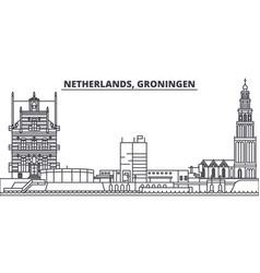 netherlands groningen line skyline vector image