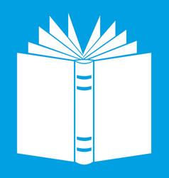 Open thick book icon white vector