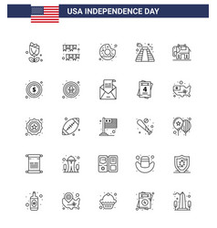Pack 25 usa independence day celebration lines vector