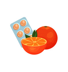 package of lozenges with orange fruit flavor taste vector image