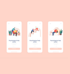 Psychological help online mobile app page onboard vector