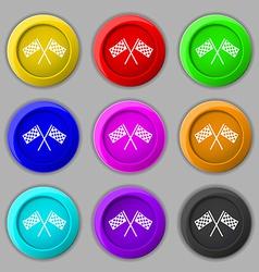Race Flag Finish icon sign symbol on nine round vector