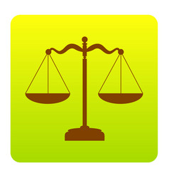 scales balance sign brown icon at green vector image