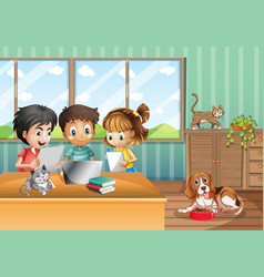 Scene with children working on computer at home vector