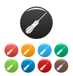 Screwdriver icons set color vector