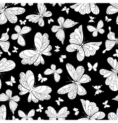 Seamless pattern of beautiful butterflies vector