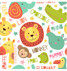seamless pattern with heads of jungle animals vector image