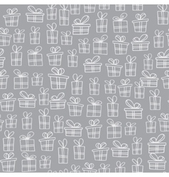 Seamless texture with hand drawn gift boxes with vector