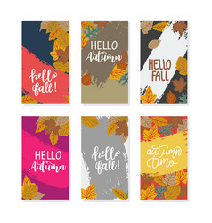 set abstract backgrounds banner with autumn vector image