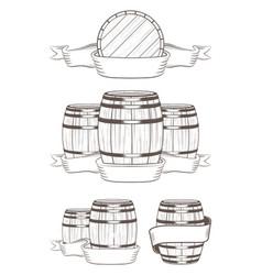 Set barrels with labels vector