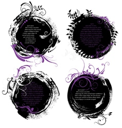 set grunge rounded banners vector image